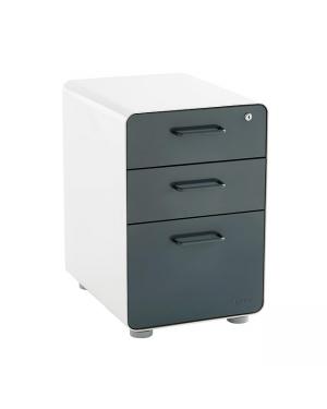 Filing Cabinet 3 Drawer Gray & White