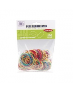 Rubber Band Asst Size/Color 100Gm Yosogo