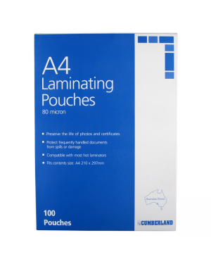 A4-80 micron cumberland  laminating pouch- sold per piece