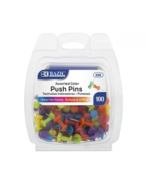 Bazic Push Pins / Assorted Colour (Pack of 100) In Reusable Container