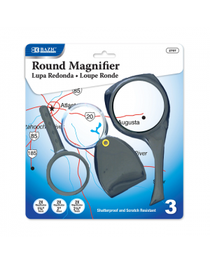 Bazic Magnifier Sets / Pack of 3 (2X Magnification) 4.4cm, 5cm & 6.4cm Round