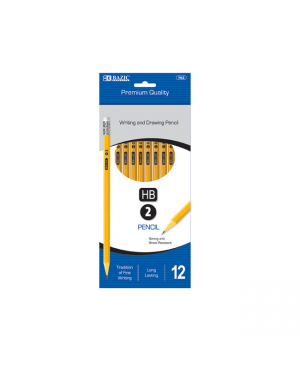 Bazic Premium Yellow Pencils / Hb 2 (Pack of 12) Strong & Break Resistant