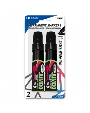 Bazic Jumbo Chisel Tip Permanent Markers / Black 8mm Extra Wide Tip (Pack of 2)