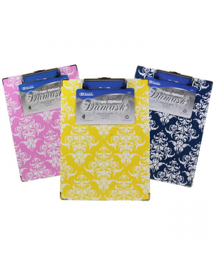 D - Bazic Damask Paper Clipboard / 31x 23cm Standard Size (With Low Profile Clip) Assorted Colours