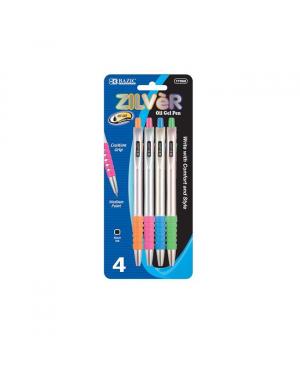 D - Bazic Zilver Oil Gel Ink Pens / Assorted Colours (Pack of 4) Black Ink 0.7mm (Tip Sealed)