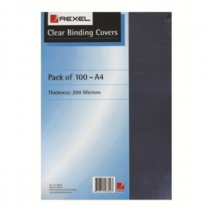Rexel Binding Cover 200 Micron  A4 Clear