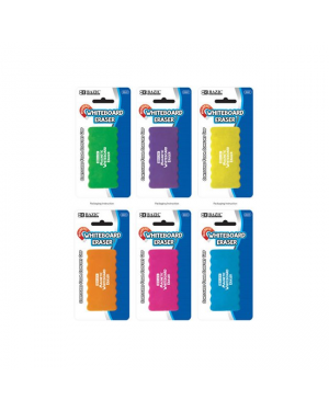 Bazic Magnetic Whiteboard Eraser / 10.5 x 5cm (6 Assorted Colours) With Foam Comfort Grip