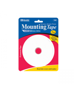 Bazic Double Sided Foam Mounting Tape / 25.4mm x 5.08 Metres