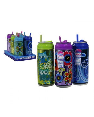 Cool Gear Can With Assorted Graphics & Straw