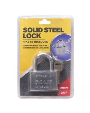 Solid Steel Padlock / 60mm (With 4 Keys)