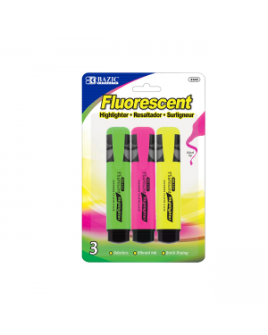 Bazic fluorescent highlighters w/ pocket clip 3/pk- sold per pack only