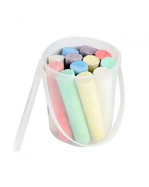 Jumbo Coloured  Chalk in Bucket  10cm pack of 12