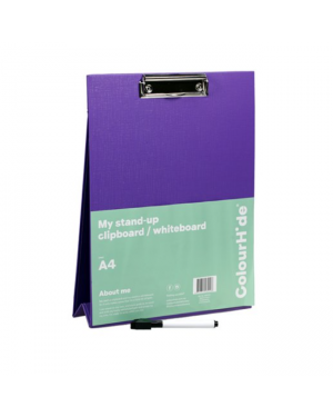ColourHide A4 Clipboard/Whiteboard With Marker - Purple / A4 (Stand Up)