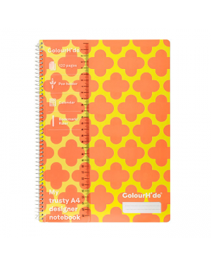 ColourHide A4 Designer Note Book - Orange Clovers / 120 Page
