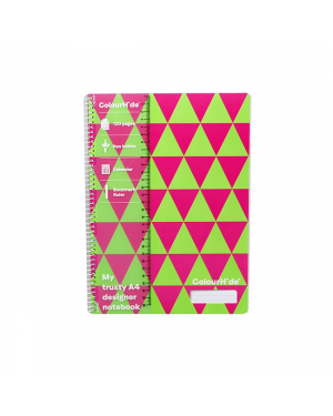 ColourHide A4 Designer Note Book - Green Triangles / 120 Page