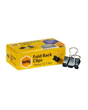 Clips Foldback 15Mm 12/Pk Marbig