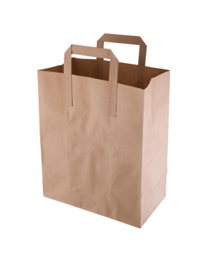 Fiesta green recycled  brown paper carrier bags medium ( pack of 250 )